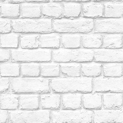Loft Realistic Whitewashed Rustic Brick Wall Quality Wallpaper White/Grey