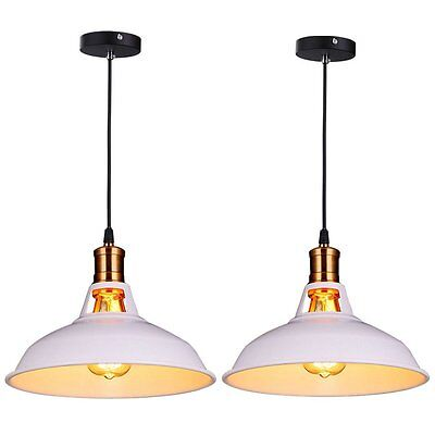 2 Pcs Pendant Lamp LampShades Industrial Bar Ceiling Light Home Lighting White