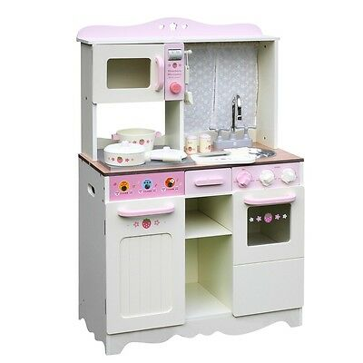 Wooden Kitchen Pretend Play Set Children Kids Toy Toddlers Cooking Home Cookware
