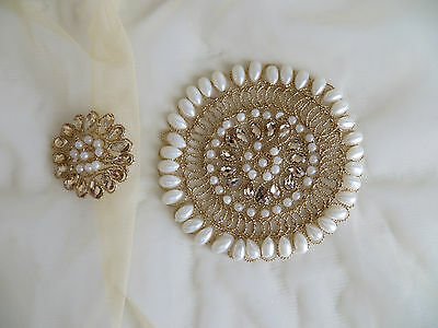 2pcs/set Sew On Pearl Beaded Motif Wedding Applique Patch Flowers Dress