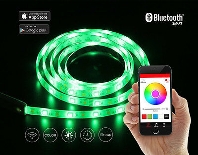 Bluetooth Smartphone RGB Led-Lichtleiste Set Fernbedienung Flexibel Kabellos Led