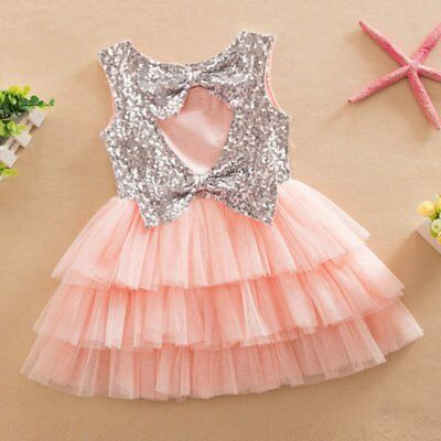 Girl Kids Baby Princess Dress Sequined Bow Party Wedding Tulle Tutu Cake Dresses