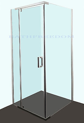 800x800 Frameless Shower Screen  Adjustable Wall Channel  8mm Tempered Glass