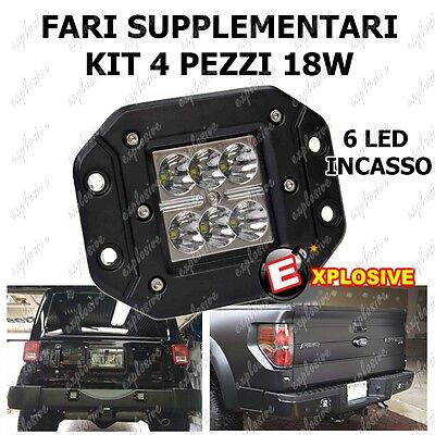 Kit 4 Fari Supplementari A Incasso 12V Faro Profondita 6 Led 18W Paraurti 6000K