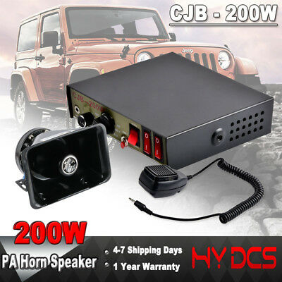 200W 8 Sound Loud Speaker Car Warning Police Alarm Fire Siren Horn PA MIC System