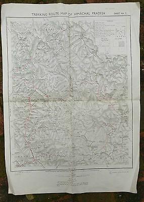 1976 First Edition Map - Trekking Route Himachal Pradesh India 2 sheets