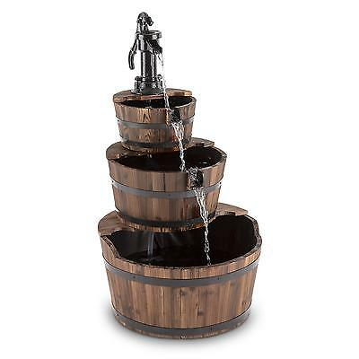 Blumfeldt 3 Floor Water Fountain Outdoor Feature Wood 12 W Pump Decor Garden