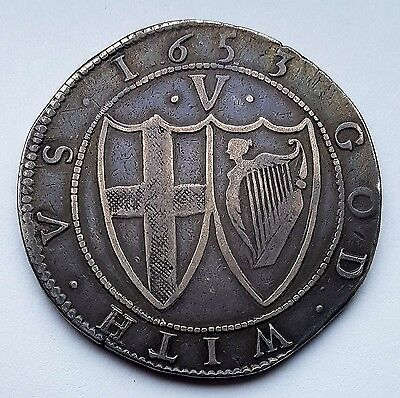 1653 COMMONWEALTH SILVER CROWN COIN mm.SUN