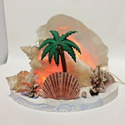 Vintage Conch Sea Shell Lamp Beach Decor 1950s Coral Palm  Resin Base Working