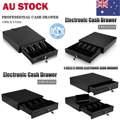 Heavy Duty Electronic Cash Drawer Register Cashbox POS 4/5 Bills 5/8 Coins Tray
