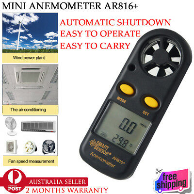 New In Box AR816+ Digital LCD Anemometer Thermometer Air Wind Speed Gauge Meter