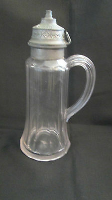 "Antique clear glass syrup jug with Pontil~ Pewter Lid, missing tip~8 1/2"" tall"