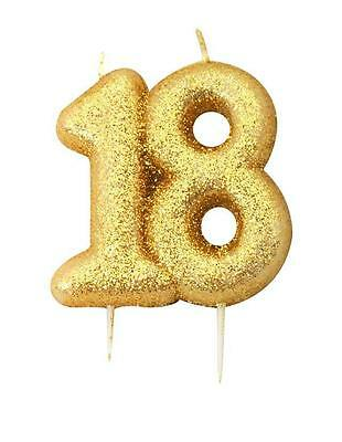 Gold Glitter Numeral Number Moulded Cake Candle - No 18
