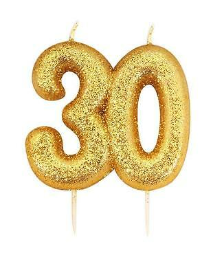 Gold Glitter Numeral Number Moulded Cake Candle - No 30