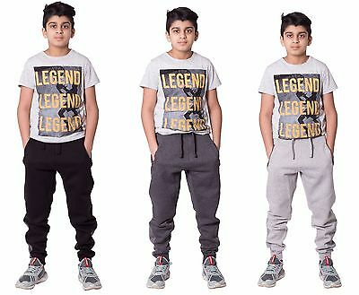 Boys Kids Ankle Contrast Panel Fleece Trousers Jogging Bottoms Sweat Pants