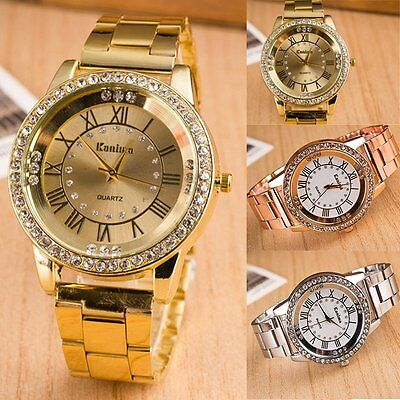 Fashion Lady's  Romance Stainless Steel Band Crystal Analog Quartz Wrist Watch