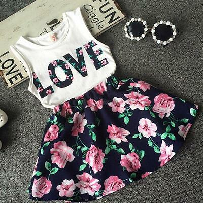 Girls Rose 2 piece skirt  & top  set flower summer party wedding outfit age 2-3