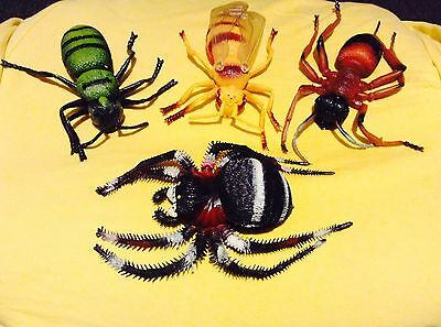 """4 RARE Vintage Large 1994 Imperial Rubber Insects Ant, Tarantula 8.5"""" to 7"""" Long"""