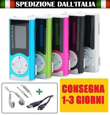 Mini Lettore MP3 Player Clip USB LCD Screen Supporta 16GB Micro SD con Display