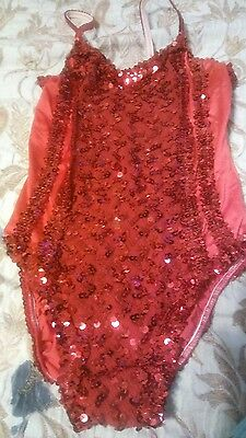 dance costume adult small   red ~BALLET TAP DANCE
