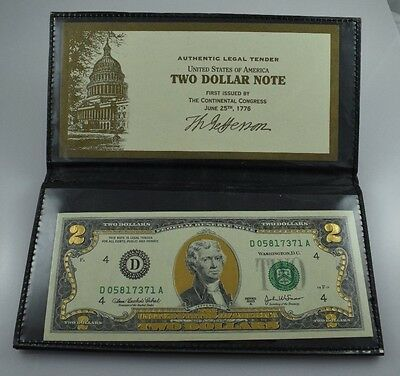 2003-A 22K Gold Leaf $2 Two Dollar Bill Federal Reserve Note - Uncirculated