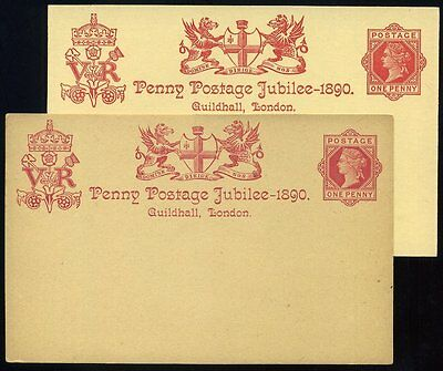 1890 PENNY POSTAGE JUBILEE Guildhall 1d Red Postcard Original and Reprint