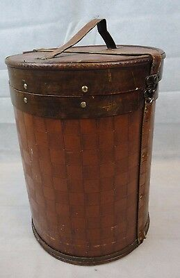 Unusual Vintage Wooden and Leather Cylinder Box (Hat Box?)