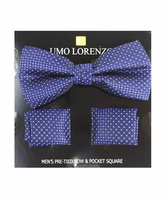 Purple Linked Banded Bow tie and Matching Hanky Set (BTH4049)