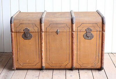 Large Vintage Antique French Bentwood Storage Trunk Chest Box