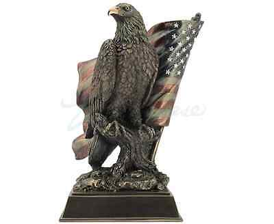 American Pride - Bald Eagle with Flag Perched on Branch Statue Sculpture Figure