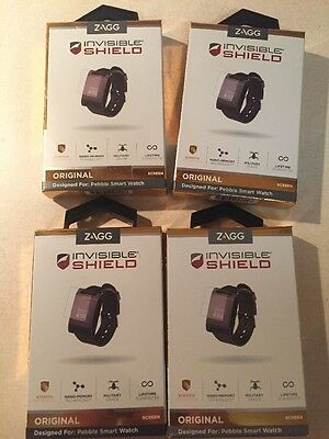 Lot Of 4 Zagg Invisible Shield Pebble Smart Watch Original Screen Protectors NIB