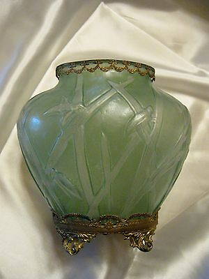 A Mounted Art Deco Pale Green Glass Vase