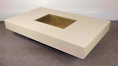 1970s Coffee Table Willy Rizzo Roche Bobois Style French Brass Retro Vintage