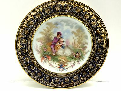 Antique Signed Sevres Chateau St. Cloud Cabinet Plate With Courting Couple