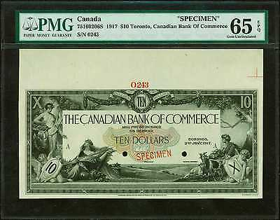 "$10 1917 Toronto Canadian Bank Of Commerce ""Specimen"" PMG 65 EPQ Gem Uncirculate"