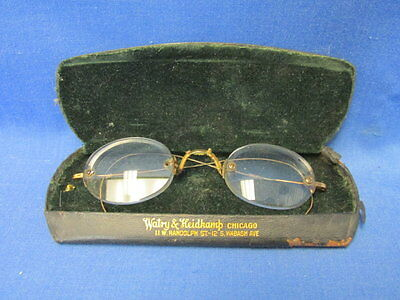 Vintage Pair of Antique Spectacles in Watry & Heidkamp Chicago Case
