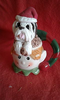 Bearded Collie In A Santa Cup