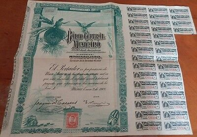 Mexico 1908 Banco Bank Central Mexicano BLUEBERRY Coupons UNC Bond Loan Share