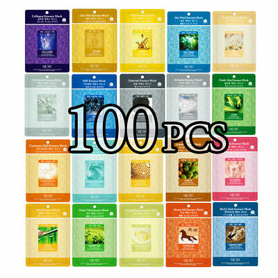 100 PCS Korean Essence Facial Mask Sheet, Moisture Face Mask Pack Skin Care Lot