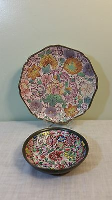 Vintage Asian Enamel Plate & Bowl Flowers  Hand Painted Lot of 2
