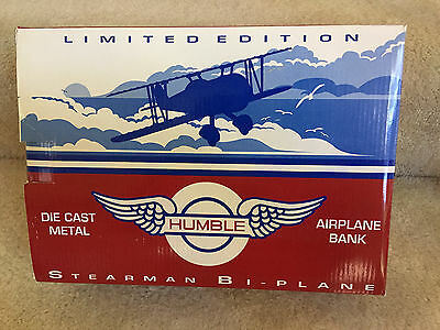 Die Cast Metal Limited Edition Humble Oil Stearman Bi-Plane Bank