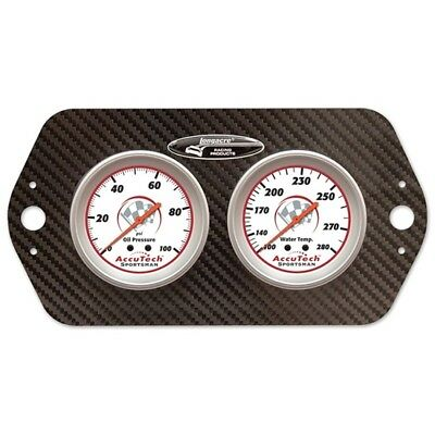 Longacre 44421 AccuTech Sprint Car Oil/Water Gauge, Carbon Fiber