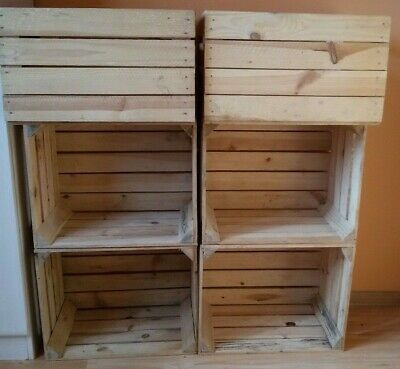12 vintage strong & solid wooden apple crates boxes home decor - polished NEW