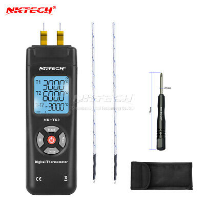 NKTECH NK-TK0 Dual Type K LCD Backlight Digital Thermoelement Thermometer Sensor
