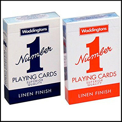 Waddingtons No.1 Linen Finish Quality Playing Cards Blue/Red New Standard Cards