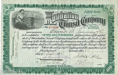 1916 New York City Manhattan Transit (Subway) Company Stock Certificate