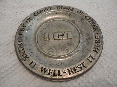 """Vintage RCA MilMetal Pewter Style Coaster From Old Mill Ent Lancaster, PA. (6"""")"""