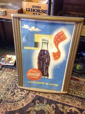 1955 Coke Sign Poster Original Wood Frame Coca Cola Old Weimer Pursell