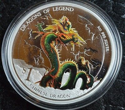 Tuvalu 2012 $1 Dragons of Legend Chinese Dragon 0.999 Silver Colored Proof + COA