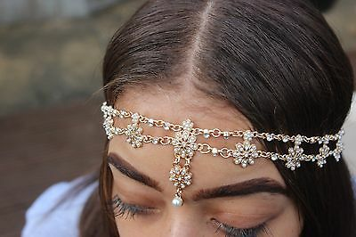 Gold hair chain. Bohemian style head chain jewelry.Festival hair chain.UK SELLER